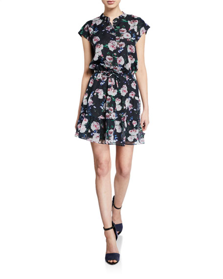 Rebecca Minkoff Ollie Floral-Print Button-Front Cap-Sleeve Mini Dress