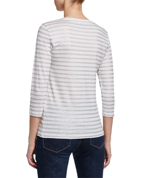 Majestic Filatures Striped Lace-up V-Neck 3/4-Sleeve Stretch-Linen Top