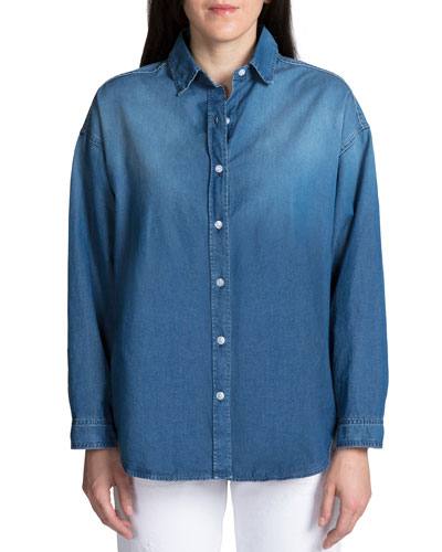 Washed Denim Button-Up Shirt