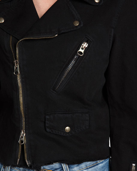 PRPS Zip-Front Moto Denim Jacket