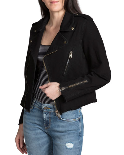 Zip-Front Moto Denim Jacket