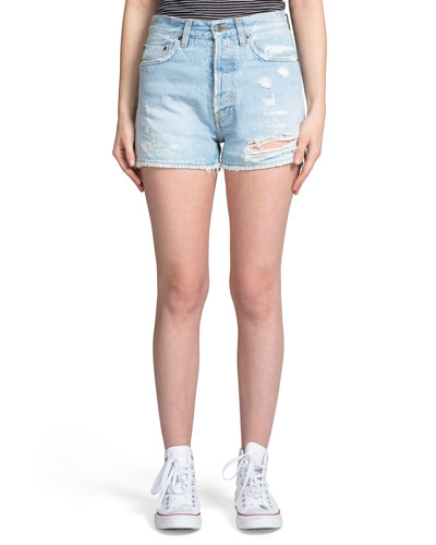 Relaxed Boyfriend Shorts w/ Distressing