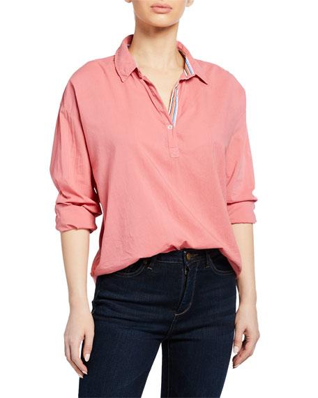 Velvet Gina Button-Front Long-Sleeve Blouse