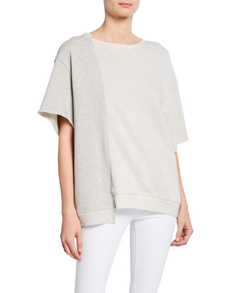 Hudson Tops SPLIT CUT RAW TRIM ASYMMETRIC PULLOVER