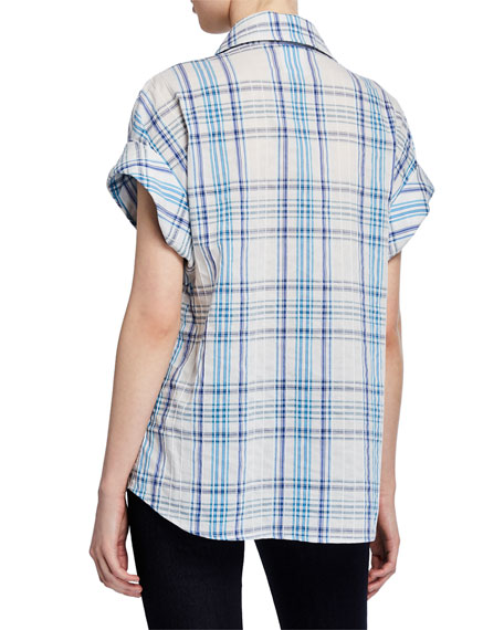 Finley Lindy Newport Plaid Short-Sleeve Top