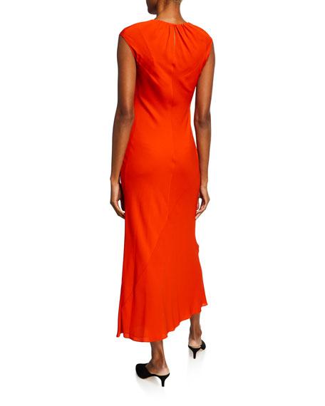Theory Shirred-Neck Sleeveless Silk Georgette Dress