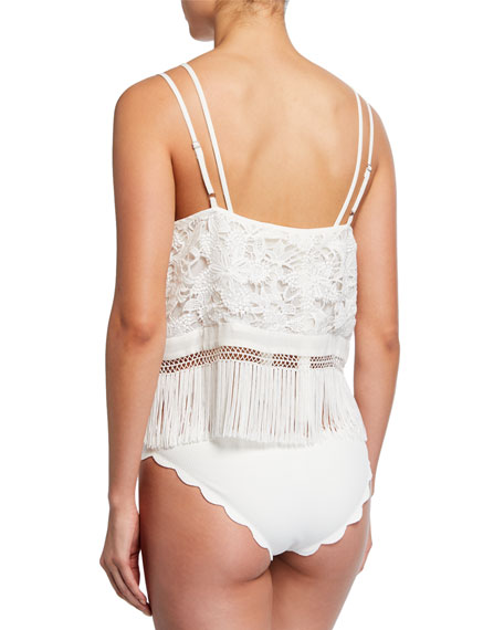 Ramy Brook Melina Lace Coverup with Fringe