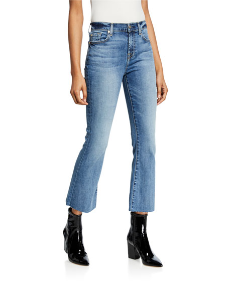 7 For All Mankind High-Rise Slim Cropped Flare Jeans