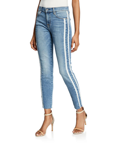 Ankle Skinny Cutoff Jeans w/ Side Stripes