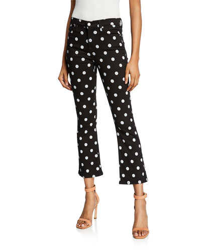 High-Waist Slim Kick Flare Polka-Dot Jeans