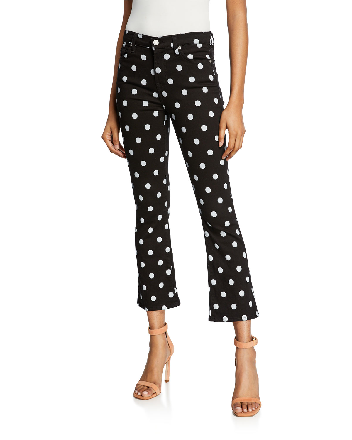 select for best moderate cost lowest discount High-Waist Slim Kick Flare Polka-Dot Jeans