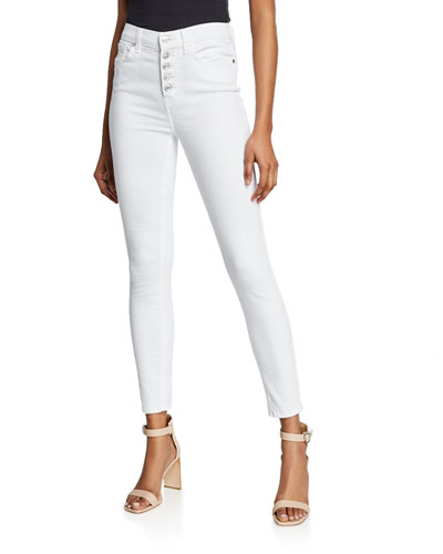 High-Waist Ankle Skinny Jeans w/ Button Fly