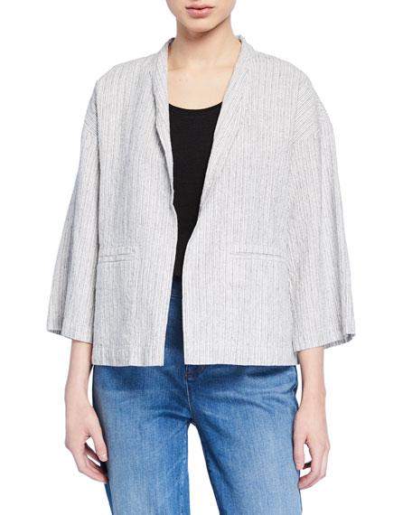 Eileen Fisher Plus Size Ticking Stripe Open-Front Organic Linen/Cotton Jacket