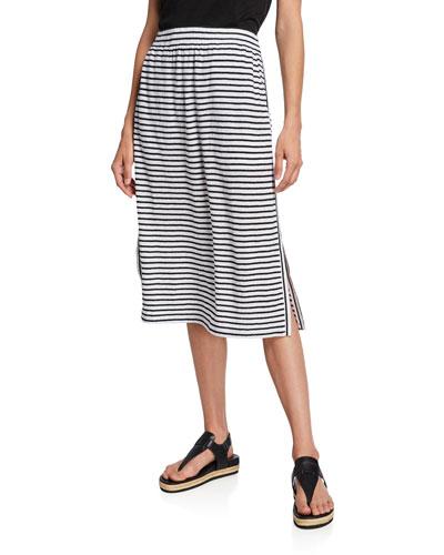 Petite Striped Organic Linen Jersey Drawstring Skirt