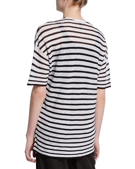 Eileen Fisher Striped V-Neck Elbow-Sleeve Crepe Sweater