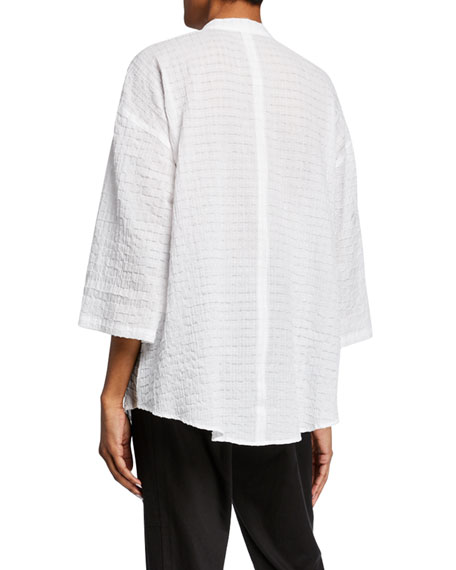 Eileen Fisher Split-Neck 3/4-Sleeve Organic Cotton Voile Tunic