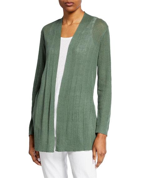 Eileen Fisher Organic Linen/Cotton Simple Open-Front Cardigan
