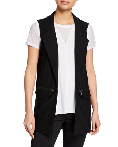 Knit Long Zipper-Pocket Vest