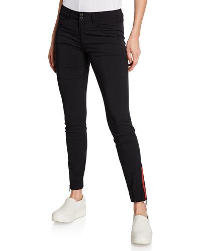 Mandy Contrast Zipper Ankle Pants