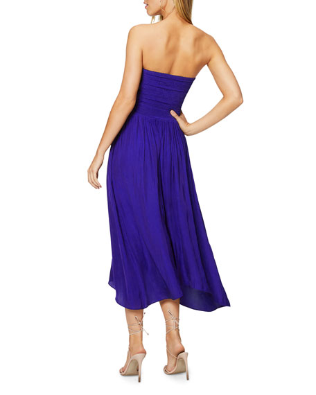 Ramy Brook Ava Strapless Smocked Midi Dress