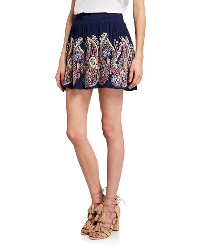 Maelen Embroidered Smocked Mini Skirt