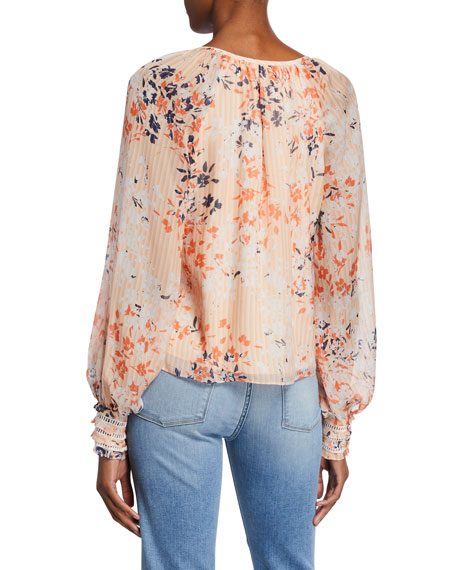 Ramy Brook Constance Printed V-Neck Long-Sleeve Top