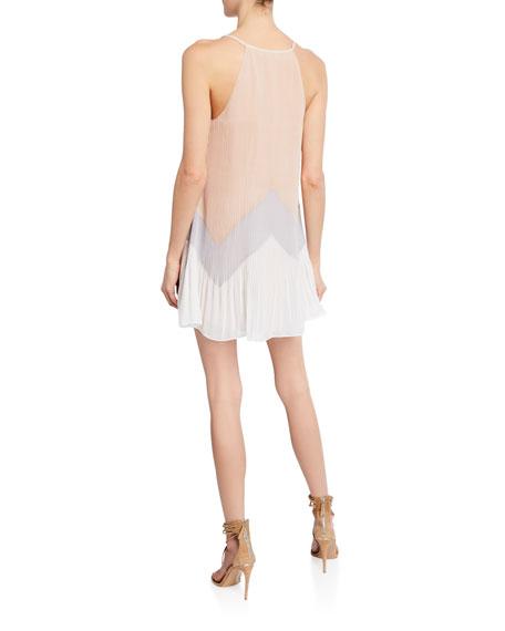 Ramy Brook Tata Pleated Chevron Halter Mini Dress