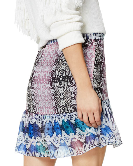 Ramy Brook Estee Printed Flounce Mini Skirt