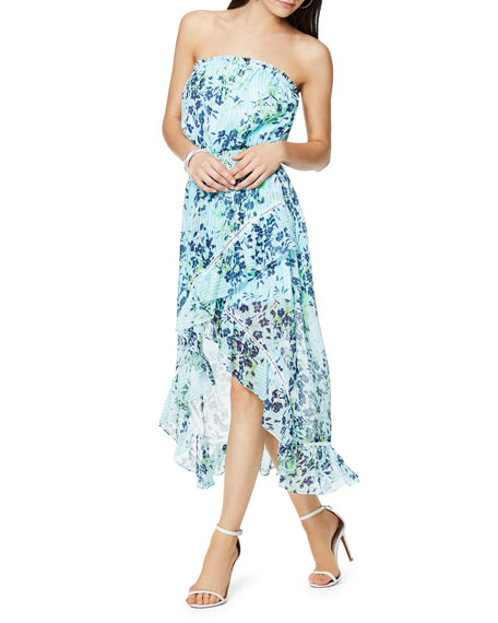 Ramy Brook Manon Floral-Print Strapless High-Low Ruffle Dress