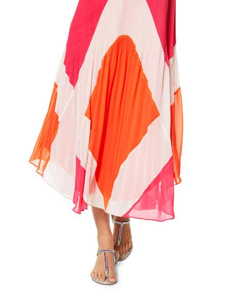 Ramy Brook Jasmin V-Neck Sleeveless Pleated Maxi Dress