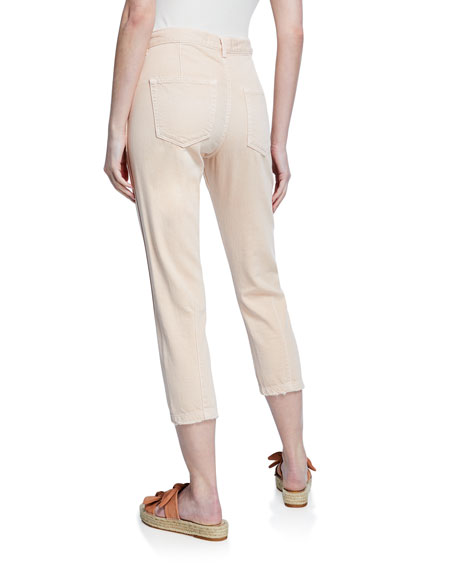 Image 2 of 3: AMO Denim Slouch Cropped Straight-Leg Trousers