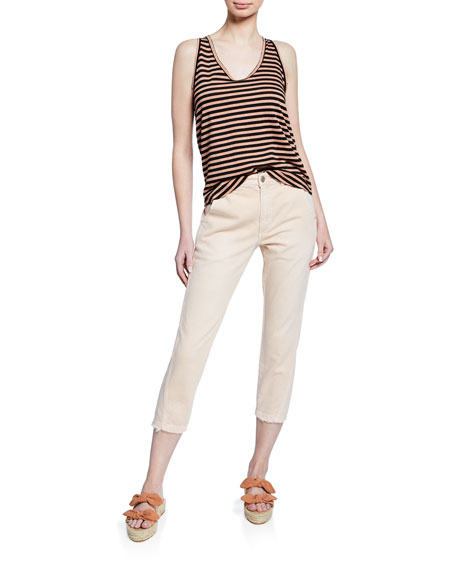 Image 3 of 3: AMO Denim Slouch Cropped Straight-Leg Trousers