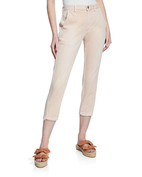 Image 1 of 3: AMO Denim Slouch Cropped Straight-Leg Trousers