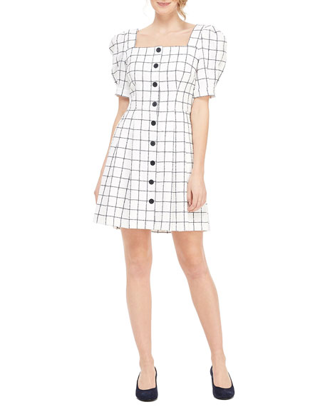 Gal Meets Glam Collection Square-Neck Button-Up Puff-Sleeve A-Line Grid Dress