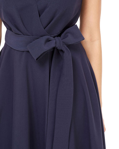 Gal Meets Glam Collection Cap-Sleeve Crossover Tie-Waist Fit-&-Flare Dress