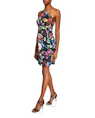 e01c86ce98f5 Aidan by Aidan Mattox Floral-Printed Crepe Halter Dress