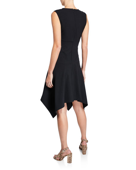 Josie Natori Sleeveless Bi-Stretch Handkerchief-Hem Dress