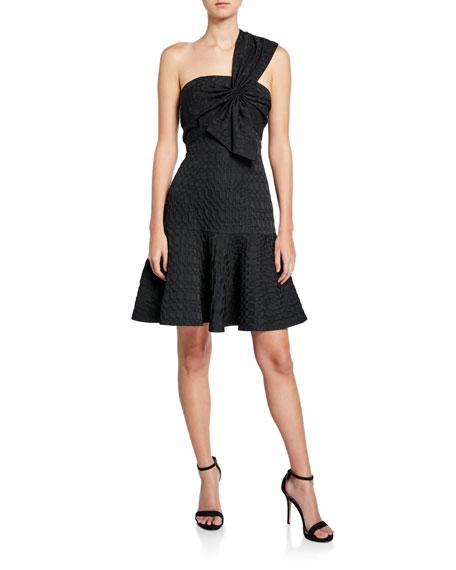 Josie Natori Textured Geometric Jacquard One-Shoulder Sleeveless Bow Dress