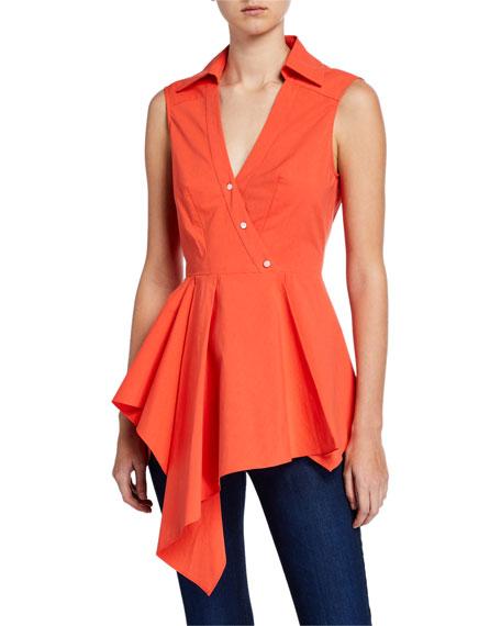 Josie Natori Sleeveless Drape-Front Cotton Poplin Top
