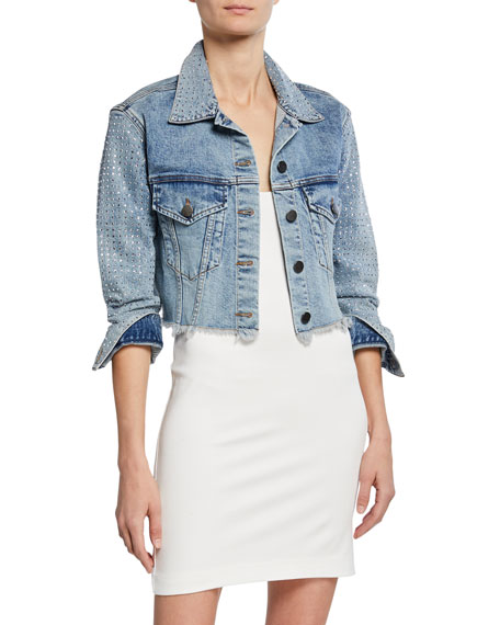ALICE + OLIVIA JEANS Boxy Cropped Denim Jacket with Crystals