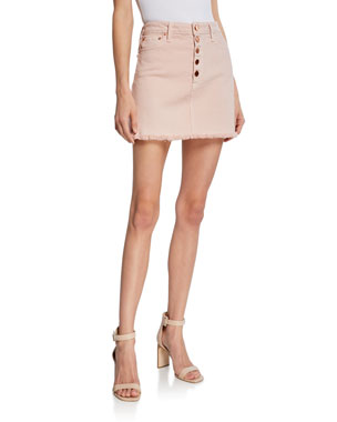 38a6596dbb01 ALICE + OLIVIA JEANS Good High-Rise Exposed Button Skirt