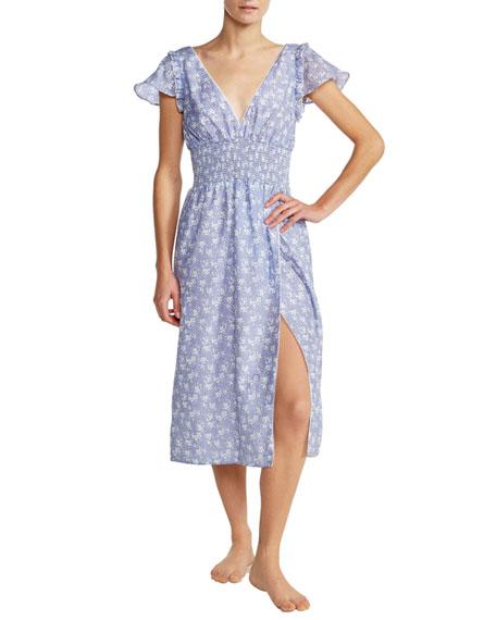 Kisuii Callista Floral Smocked V-Neck Silk-Cotton Dress