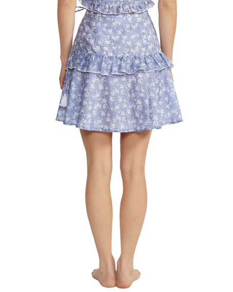 Kisuii Shirley Floral Ruffle Wrap Coverup Skirt
