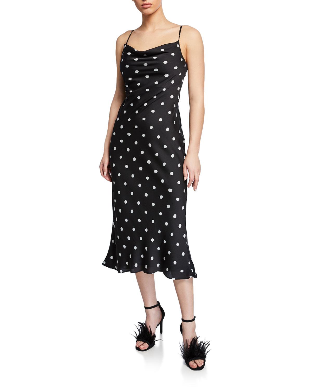 Cowl Neck Dress: Shona Joy Polka-Dot Cowl-Neck Spaghetti-Strap Bias-Cut