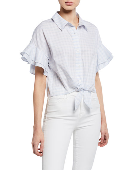 Cupcakes and Cashmere Sunnie Flutter-Sleeve Gingham Blouse