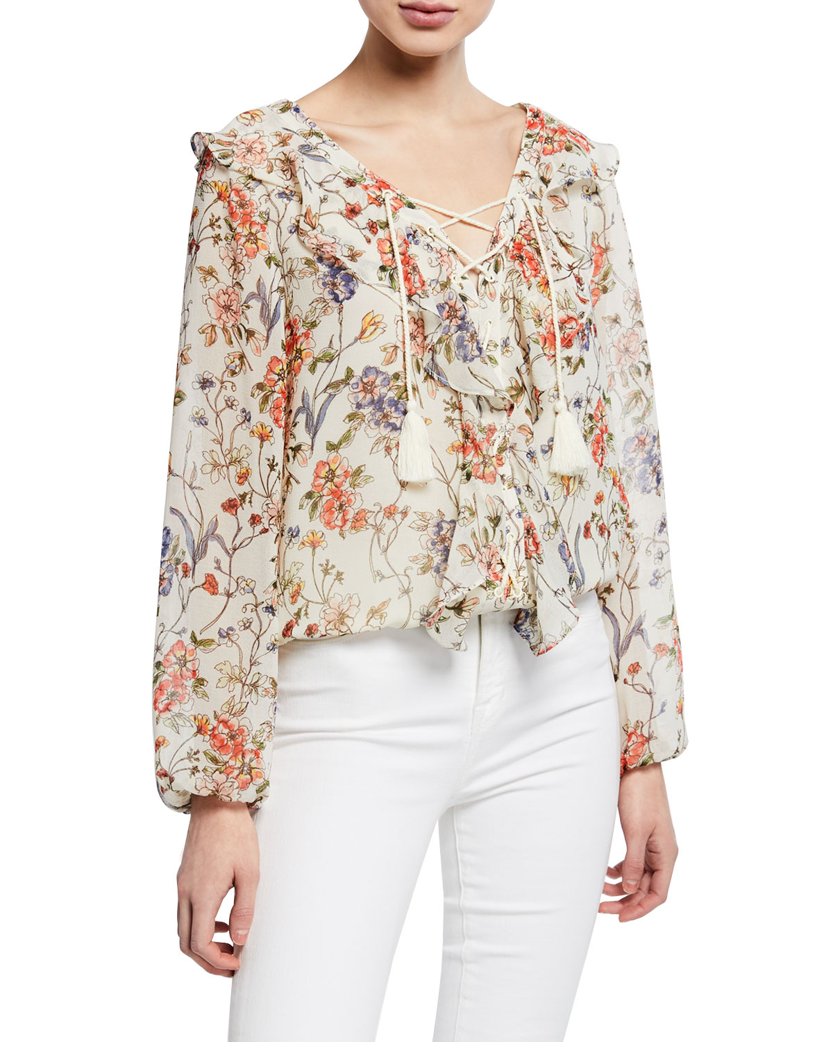 58dc8d51d4 Cupcakes and Cashmere Sveta Printed Lace-Up Blouse | Neiman Marcus