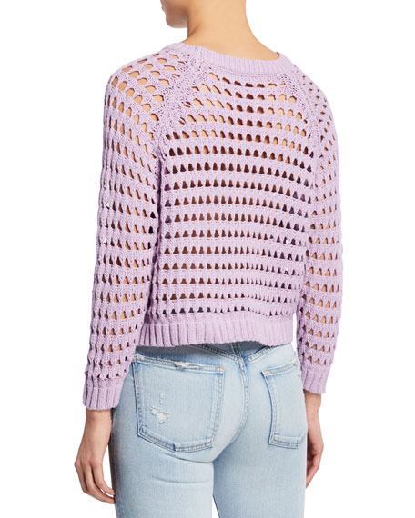 ASTR Cameron Open-Stitch Cropped Sweater