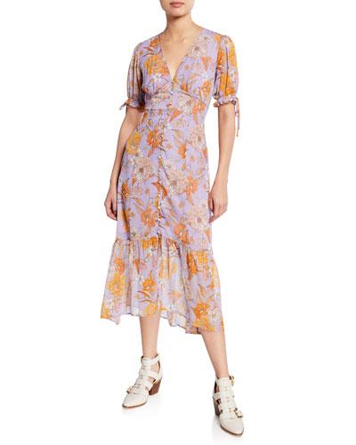 Chandler Floral-Print Button-Front Midi Dress
