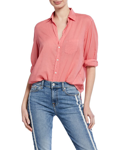 Long-Sleeve Button-Down Cotton Shirt  Red