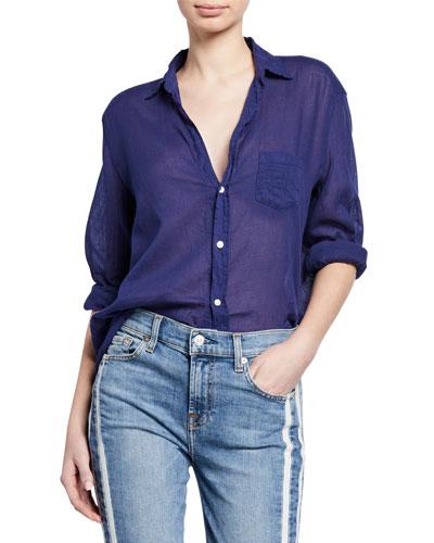 Button-Down Long-Sleeve Cotton Shirt  Indigo